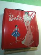 Vintage 1960's Barbie Ponytail Red Case With 3 Dolls And Clothes