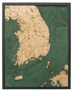 South Korea Wood Carved Topographic Depth Map