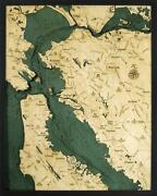 San Francisco / Bay Area Wood Carved Topographic Depth Chart / Map