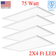 2x4 Led Flat Panel Light75w 5000k Recessed Edge-lit Drop Ceiling Troffer Light