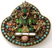 Vintage Large Brass Pin 4 Armed Hindu / Buddhist Goddess Glass Tourquoise Coral