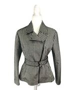 Women's Nwt Akris Punto Black And Cream Houndstooth Belted Zip Jacket Size 10