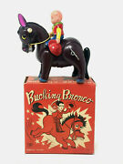 Modern Toys Bucking Bronko Wind-up Vintage 1950and039 Celluolid With Box And Key