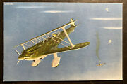 Mint Italy Ww2 Picture Postcard Aircraft Works Captoni 165 War Scene