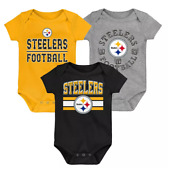 @ Pittsburgh Steelers Baby Infant First And Ten 3pk Bodysuit Creeper Set
