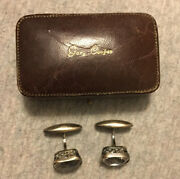 Rare Gary Cooper Owned And Worn Person Russian Silver Cufflinks And Original Box