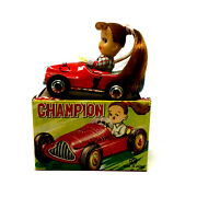 Kanto Toys Champion Wind-up Race Car With Girl With Box Vintage