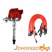 For Sbc Bbc 305 350 454 V8 Distributor And 10.5 Mm Red 90 Degree Spark Plug Wire