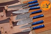 Hand Forged Damascus Steel Chef Knife Kitchen Set With Wood Handle- Aj 1687