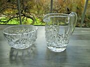 Waterford Crystal Creamer And Open Sugar Bowl Lismore Pattern Waterford Mark