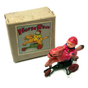 Vintage Tokyo Okabe Horse Race, Wind-up, Celluloid With Box, Occupied Japan