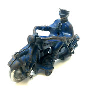 Vintage Champion Cast Iron Motorcycle Cop, Metal Spoked Wheels, 1930's