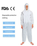White Coverall Hazmat Suit Protection Protective Disposable Clothing Disposable