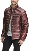 Dkny Menand039s Water Resistant Ultra Loft Quilted Small Beet Red Pearlized