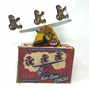 Vintage Lewco See-saw Circus With Box 1930and039s Wind-up Action Toy