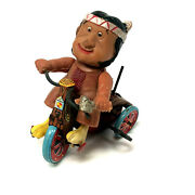Vintage Marx Indian On Bell Cycle, Celluloid, Wind-up