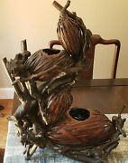 Antique Japanese 4-gourd Hyotan Basket Of Woven Bamboo And Rootwood For Ikebana