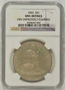 1843 Seated Liberty Silver Dollar 1 Ngc Unc Details Obverse Cleaned 3658643-004