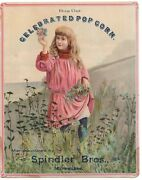 Rare 1890s Popcorn Advertising Sign From Spindler Bros Milwaukee Victorian Girl