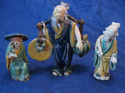Lot Of 3 Vintage Mud Men Chinese Figurines Coin And Peach Incised China Mark