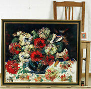 Henry Maurice Dand039 Dand039anty 1910-1988 Oil Painting Older Still Life Flowers