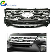 Front Bumper Upper Grille Silver And Black Fit For 2018 2019 Ford Explorer