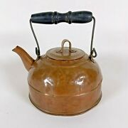 Vintage Revere Ware 1801 Copper Teapot Kettle With Hinged Wood Handle    B-j