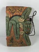 Antique Asian Hand Carved Wood Sloth Ceremonial Bell Painted Wow
