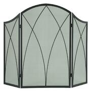 Arched Fireplace Screen, Three-panel Arched Design, Heavy-duty Mesh Screen