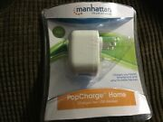 Manhattan Popcharge Home Usb Wall Charging Plug Dual Device Charger 2 Ports New