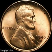 1945-s/s Rpm 17 Lincoln Wheat Penny Bu Uncirculated Red Us Coin Sku-1939