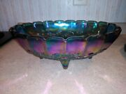 """Carnival Glass Fruit Bowl Footed Indiana Blue Grapes Iridescent Large Oval 12"""""""