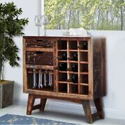 2 Drawer Wooden Wine Bar Cabinet With Multiple Wine Bottle Slots, Rustic Brown
