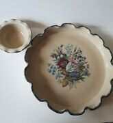 Home And Garden Party Floral Fluted Chip And Dip Platter Set Retired Ecu