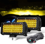 7 Inch Yellow Fog Lights, Led Driving Lamp With Wiring Harness12ft /2 Lead, 2