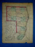 Antique 1873 Atlas Map Sanilac - St. Clair County, Michigan Old Authentic