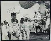 James Lovell And Buzz Aldrin Autographed Personalized 16 X 20 Photo Uss Wasp