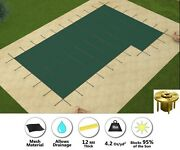 Gli Promesh Rectangle Swimming Pool Safety Cover W/ Step And Wood Deck Anchors