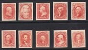 Us 102-111tc4b 1875 Re-issue Scarlet Trial Color Proof Card Complete Xf Hscv985