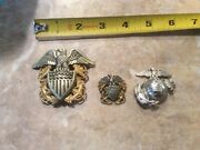 Us Naval Officers Cap Badge Usmc Pin Wwii Meyer New York