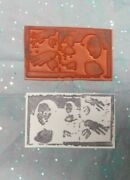 Negative Image Collage Mona Lisa Hands Face Rubber Stamp Unmounted Art Stamps