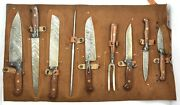 Damascus 9 Piece Chef's Knife Set Colored Wood Handle And Leather Kit And Sharpener