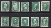 Us 102-111tc4d 1875 Re-issue Green Trial Color Proof Card Complete Xf Nh Scv985