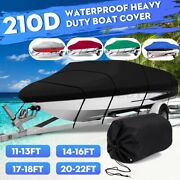Waterproof Boat Cover Trailerable Heavy Duty V-hull Fish Ski Runabouts 11ft-22ft
