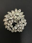 Vtg Signed Eisenberg - Ice Collection Brooch Crsystal Wreath Floral Si