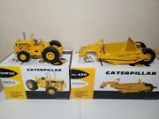 Cat Dw20 Tractor And 456 Scraper - First Gear 125 Scale 49-0218 And 49-0247 New