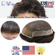 Mens Toupee French Lace Front Poly Pu Hairpiece Natural Hair Replacement System