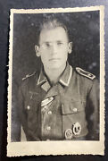 Mint Germany Real Picture Postcard Wwii German Soldier With Medals