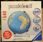 Ravensburger The Earth 3d Jigsaw Puzzle Ball World Globe 540 Pieces W/stand New