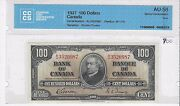 1937gordon/towers Canada 100 Note Cccs Au-58 Sn/ Bj 3520987